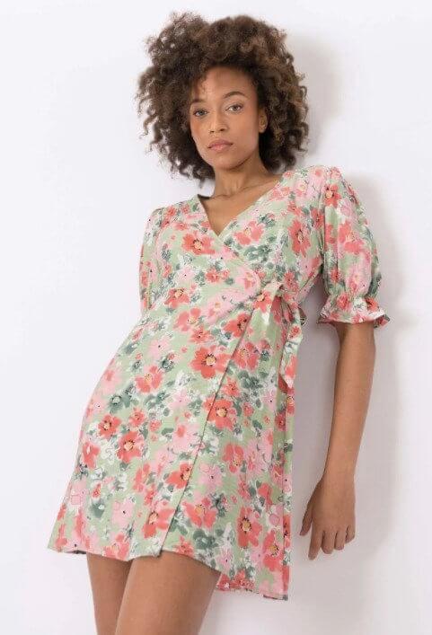 Vestido com estampado floral da tiffosi