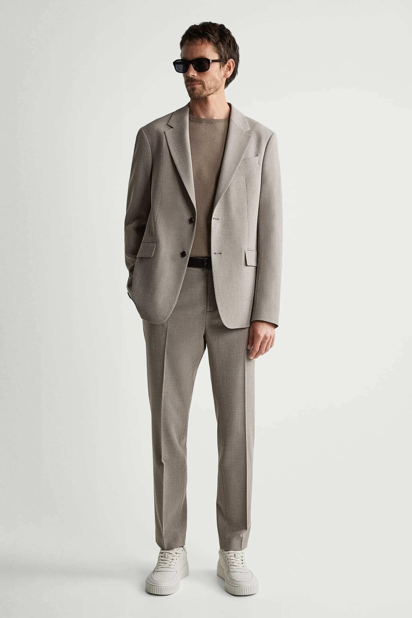 Blazer e calças formais castanhas para homem da zara
