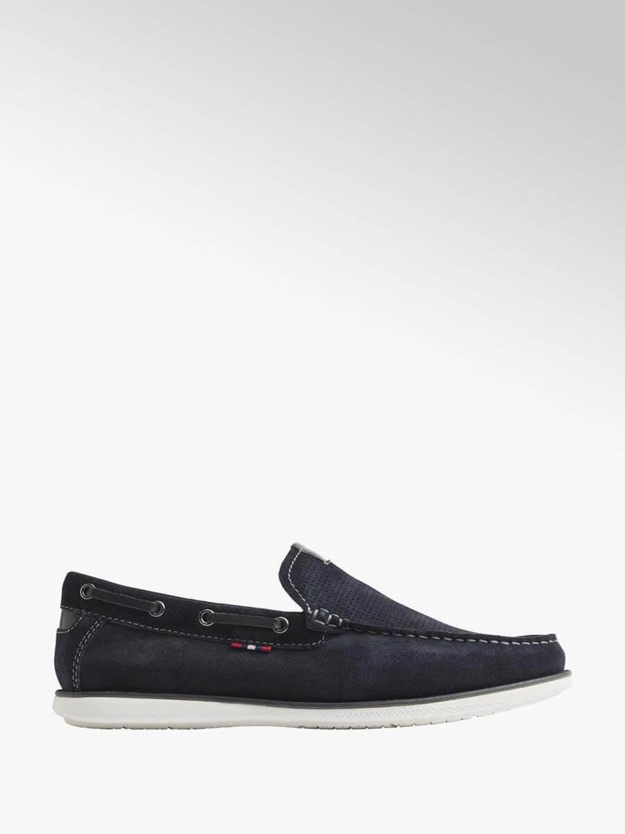 Sapatos de vela de homem em azul escuro da seaside