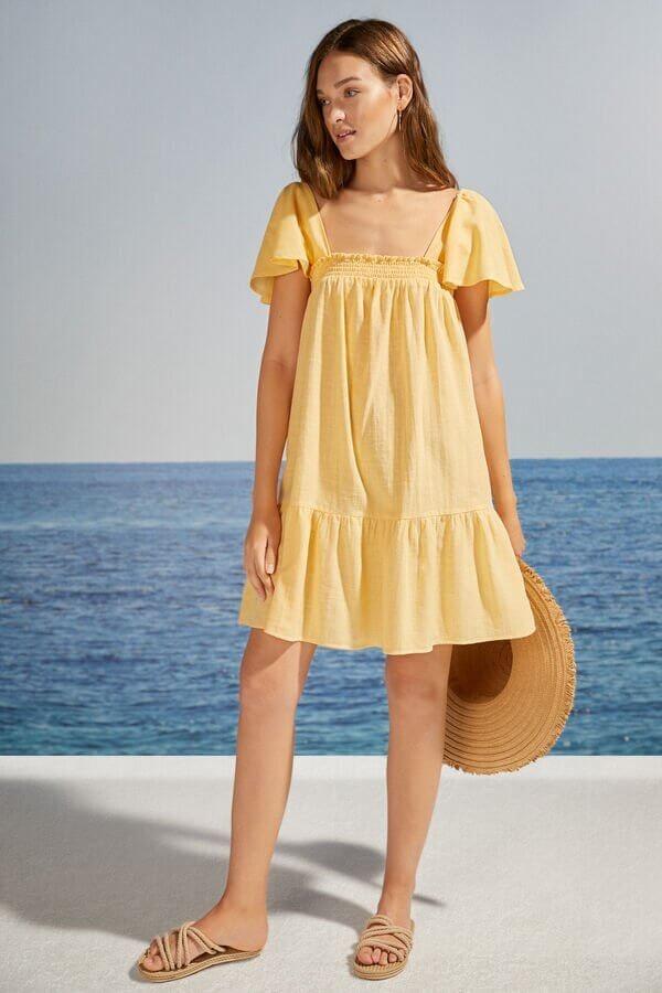 Vestido curto amarelo 100% algodão Country Women'secret